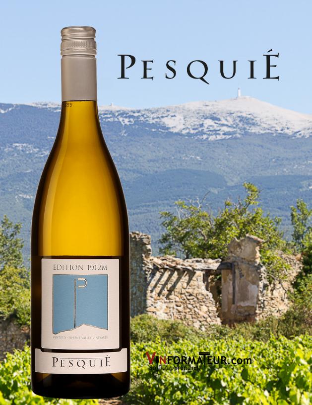 Bouteille de Pesquié, Édition 1912M, France, Vallée du Rhône, AOC Ventoux, 2020 avec vignoble et Ventoux en arrière-plan
