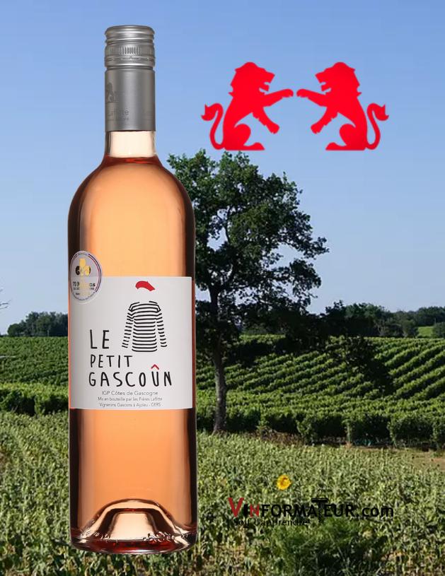 Bouteille de Le Petit Gascoun, France, Sud-Ouest, Domaine les Frères Lafitte, vin rosé, 2020 avec vignoble en arrière-plan