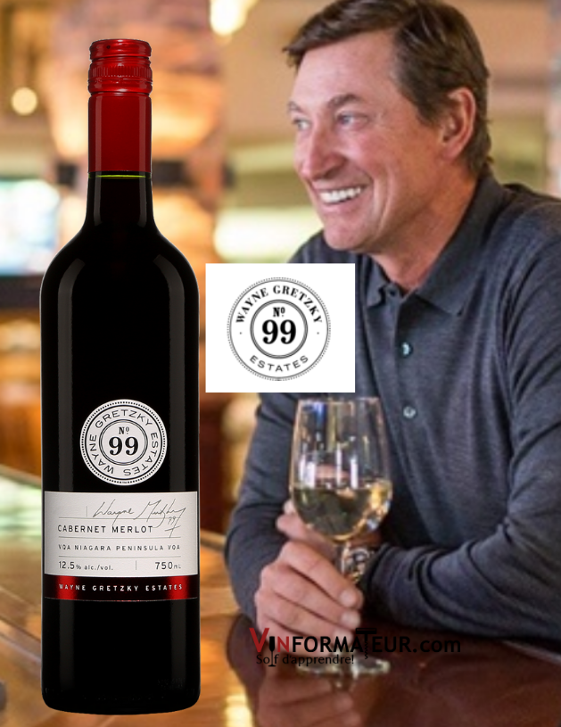 Bouteille de Wayne Gretzky, No 99, Cabernet Merlot, Canada, Péninsule du Niagara, Wayne Gretzky Estates, 2019 avec Wayne Gretzky en arrière-plan