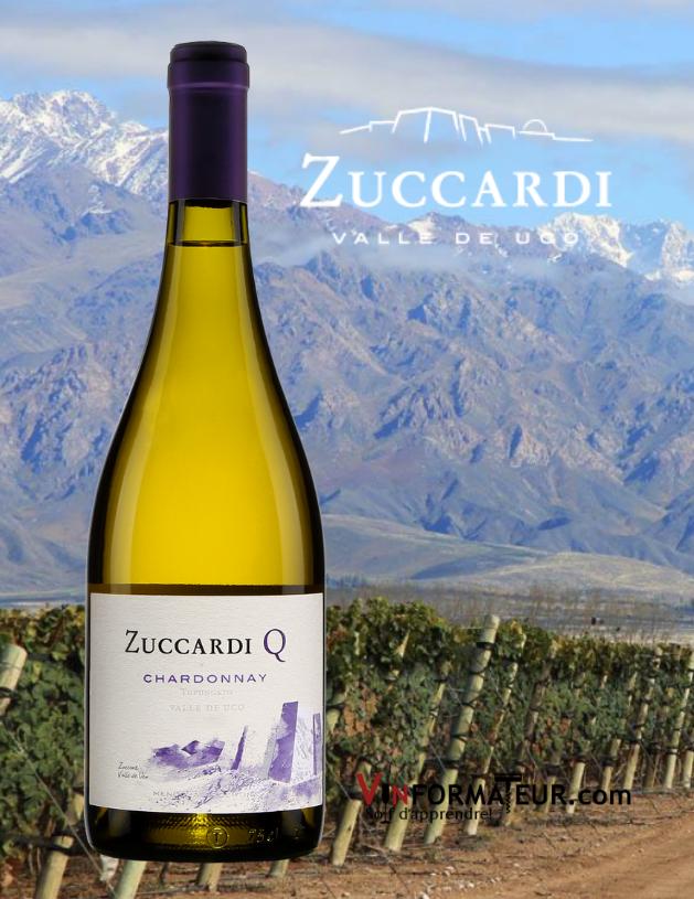 Bouteille de Zuccardi Q, Chardonnay, Argentine, Mendoza, Valle de Uco, 2019 avec vignoble en arrière-plan