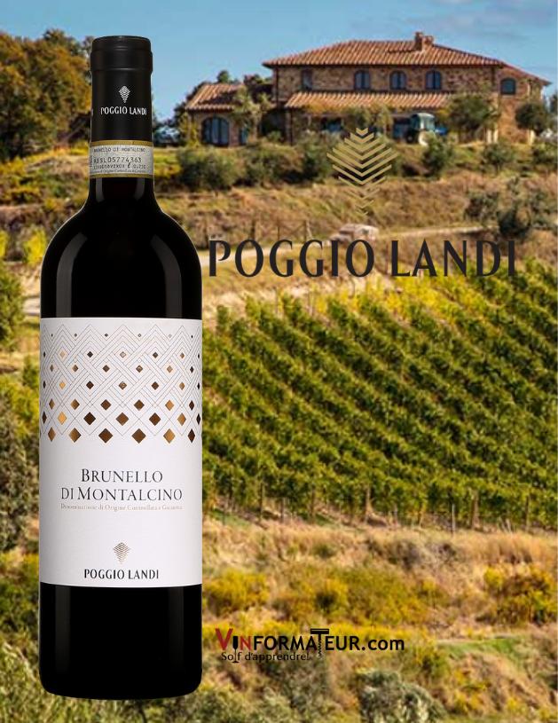 Bouteille de Poggio Landi, Brunello di Montalcino DOCG, Dievole, 2015 avec vignobles en arrière-plan