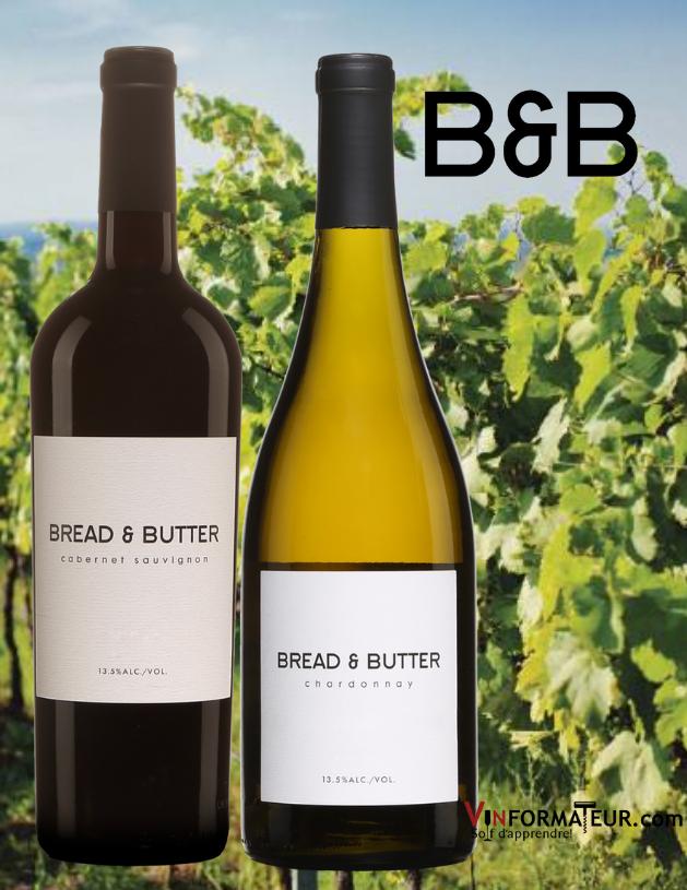 Bouteilles de Bread & Butter, Cabernet-Sauvignon et Chardonnay 2019 avec vignoble en arrière-plan