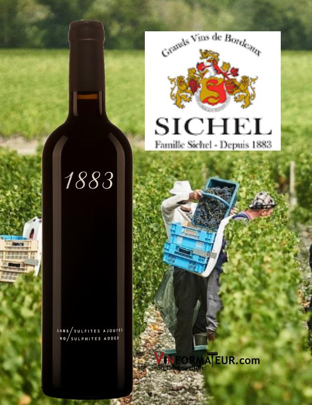 Bouteille de 1883, Sichel, Bordeaux, Sans Sulfites Ajoutés/Vegan, Maison Sichel, 2019 avec vignoble en arrière-plan