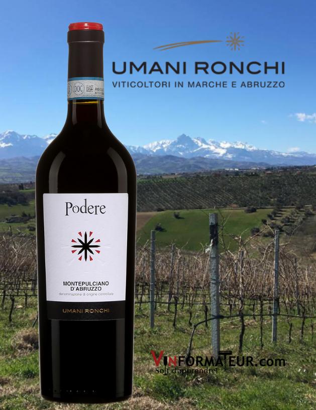 Bouteille de Podere, Italie, Montepulciano d'Abruzzo DOC, Umani Ronchi, 2019 avec vignobles en arrière-plan