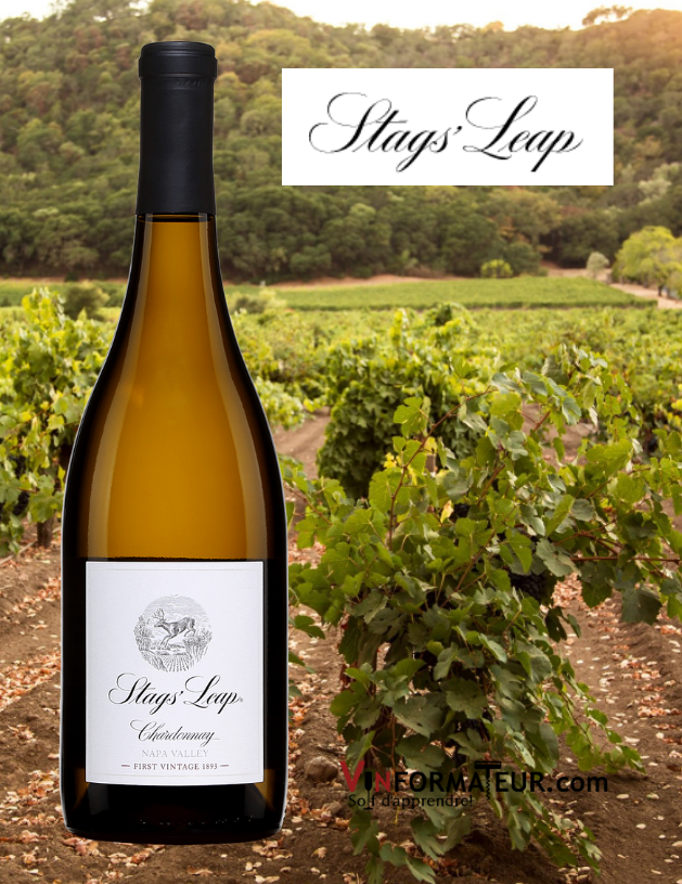 Bouteille de Stag's Leap, Chardonnay, Californie, Napa Valley, Satgs' Leap Winery, 2018 avec vignoble en arrière-plan