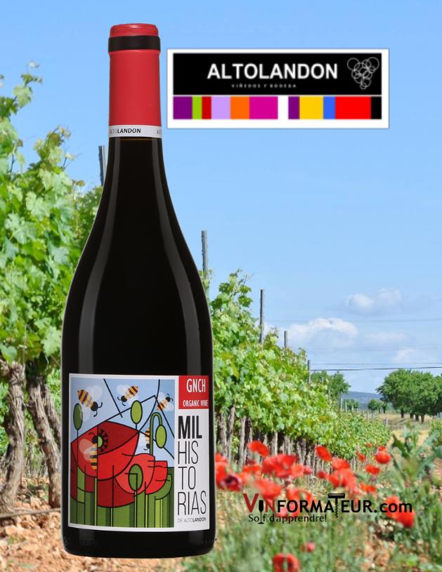 Bouteille de MIL Historias, AltoLandon, Espagne, Manchuela, 2019 avec vignoble en arrière-plan
