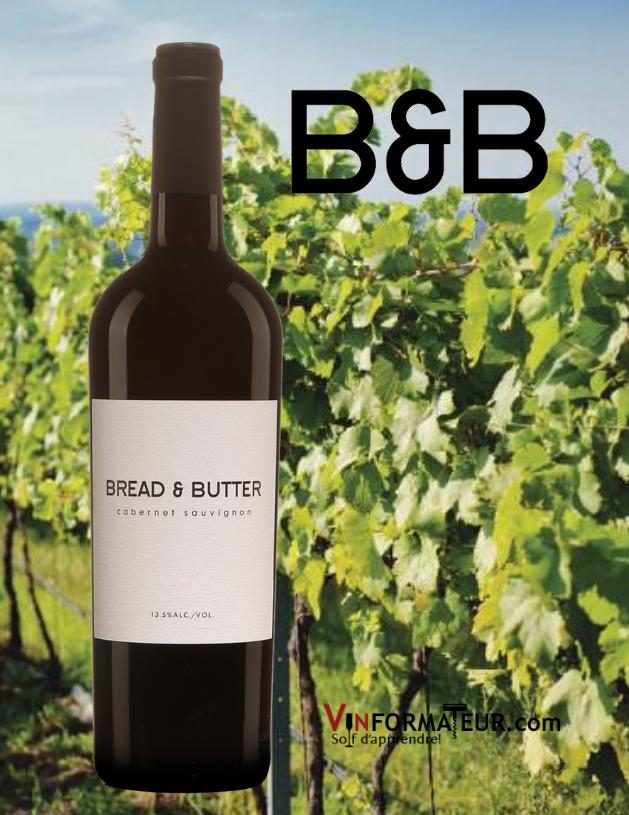 Bouteille de Cabernet-Sauvignon, Bread & Butter, Californie, Napa Valley, 2019 avec vignoble en arrière-plan