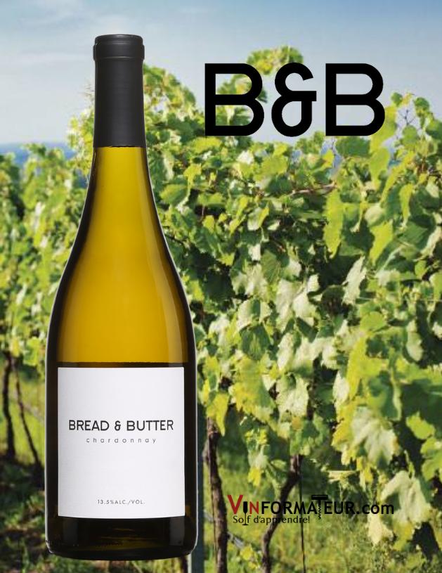 Bouteille de Chardonnay, Bread & Butter, Californie, Napa Valley, 2019 avec vignoble en arrière-plan