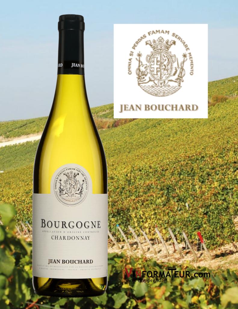 Bouteille de Chardonnay, Bourgogne, Jean Bouchard, 2019 avec vignoble en arrière-plan