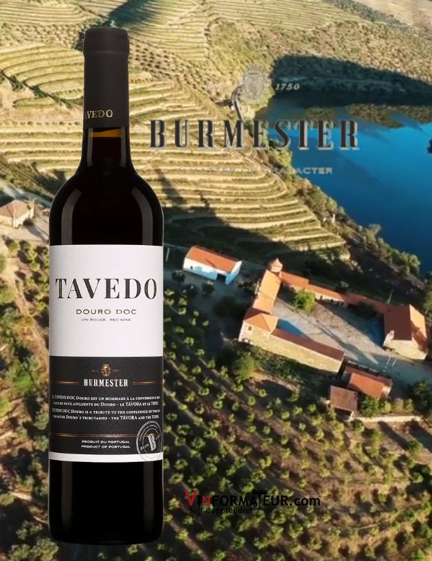 Bouteille de Tavedo, Portugal, Douro DOC, Burmester, Sogevinus, 2019 avec vignoble en arrière-plan