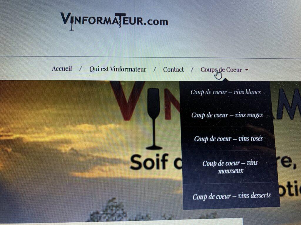 Section Vins Coups de Coeur site web Vinformateur.com