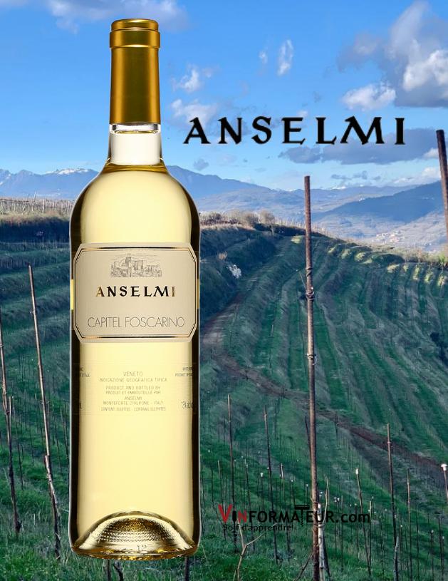Bouteille de Anselmi, Capitel Foscarino, Italie, Vénétie IGT, 2019 avec vignoble en arrière-plan