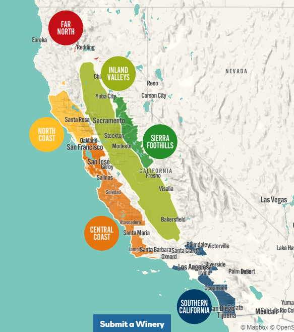 Carte viticole de la Californie