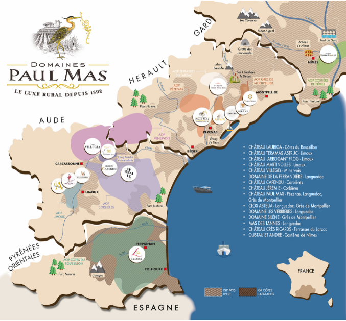 Carte viticole des Domaines Paul Mas
