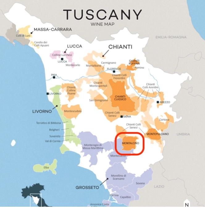 Carte viticole de Montalcino