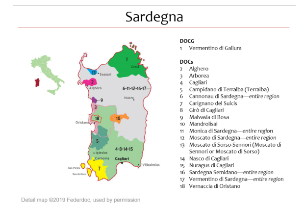 Carte viticole de Sardaigne Federdoc