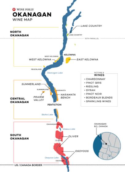 Carte viticole de la Vallée de l'Okanagan