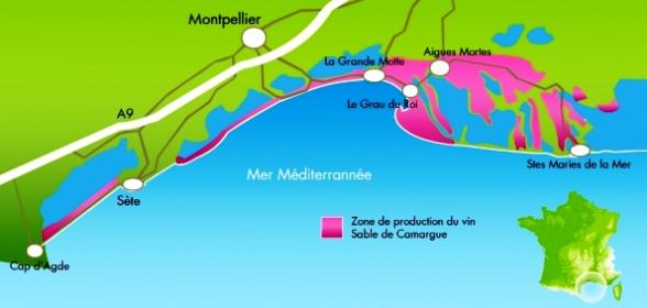 Carte viticole Sable de Camargue