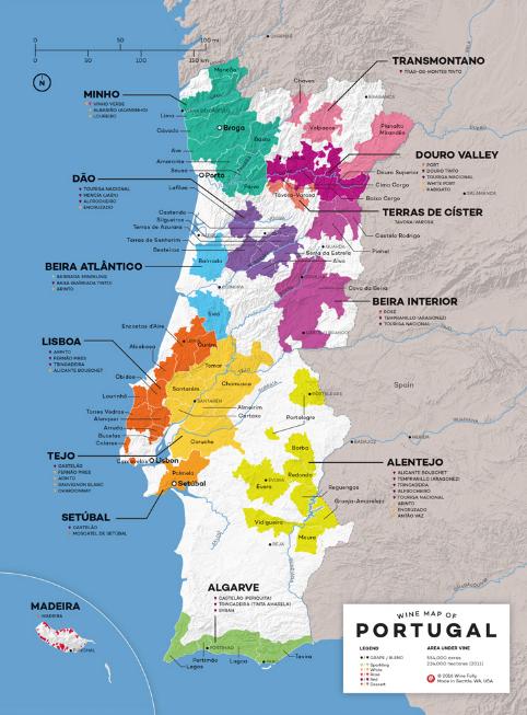 Carte viticole du Portugal - source: winefolly.com