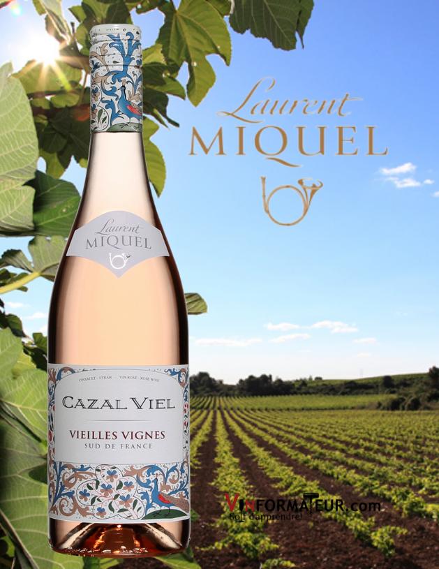 Cazal Viel, Vieilles Vignes, Sud de France, Pays D'Oc IGP, Laurent Miquel, vin Rosé, 2020 avec vignobles en arrière-plan