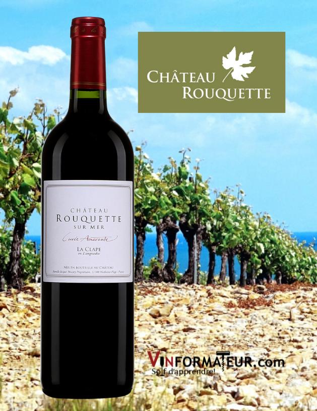 Bouteille de Château Rouquette sur Mer, Cuvée Amarante, Languedoc-Roussillon, La Clape AOC, avec vignobles en arrière-plan