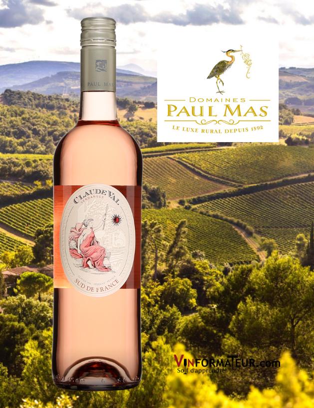 Bouteille de Claude Val, France, France, Languedoc-Roussillon, Pays d'Oc, vin rosé, Les Domaines Paul Mas, 2020 abvec vignobles en arrière-plan