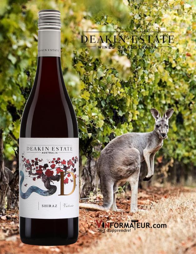 Bouteille de Deakin Estate, Shiraz, Australie, vin rouge, 2018