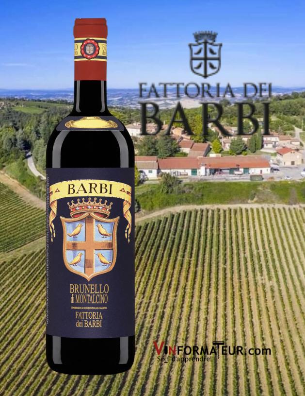 Bouteille de Barbi, Brunello di Montalcino DOCG (Blu Label), Fattoria dei Barbi, 2016 avec vignobles en arrière-plan