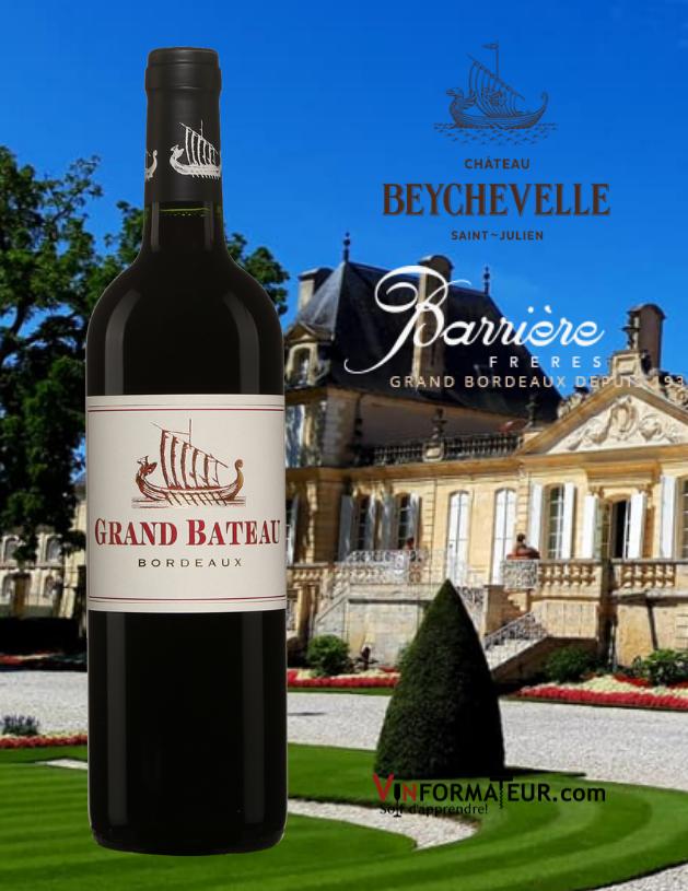Bouteille de Grand Bateau, Bordeaux, vin rouge, Barrières Frères, Château Beychevelle, 2018 avec château beychevelle en arrière-plan