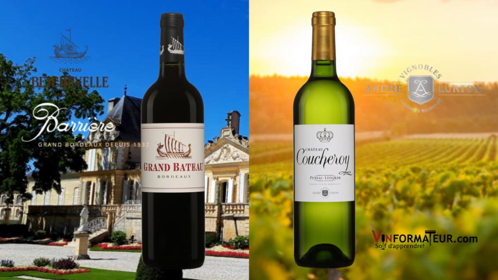 vin rouge Bordeaux: Grand Bateau, vin blanc Bordeaux, Pessac-Léognan: Château Coucheroy