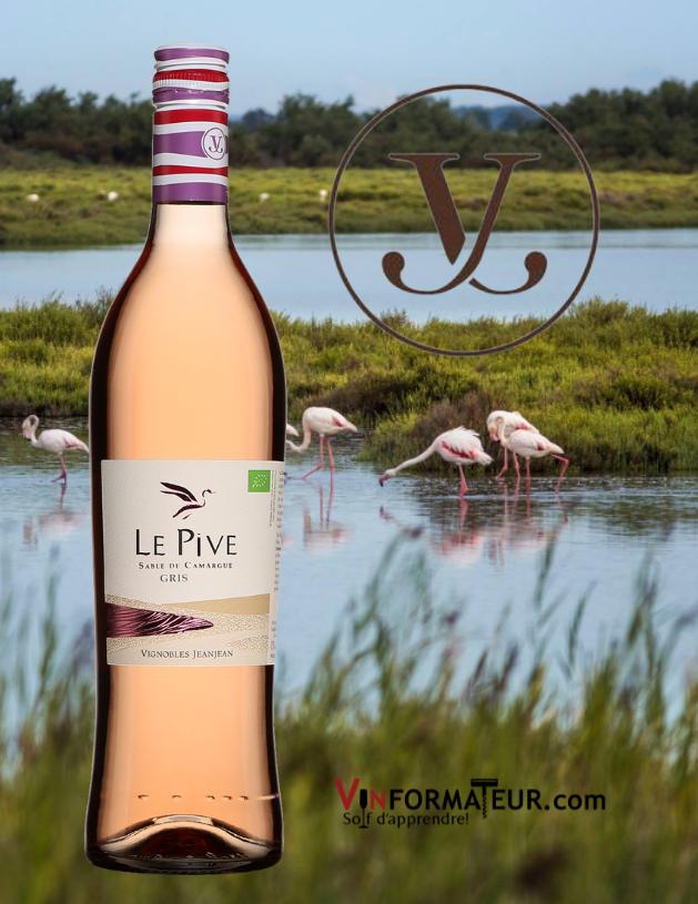Le Pive Gris, Sable de Camargue IGP, vin rosé bio, Maison JeanJean, 2020 avec le terroir de Camargue en arrière-plan