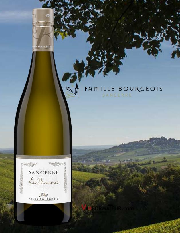 Bouteille de Henri Bourgeois, Les Baronnes, France, Val de Loire, Sancerre, Famille Bourgeois, 2019 avec vignobles en arrière-plan