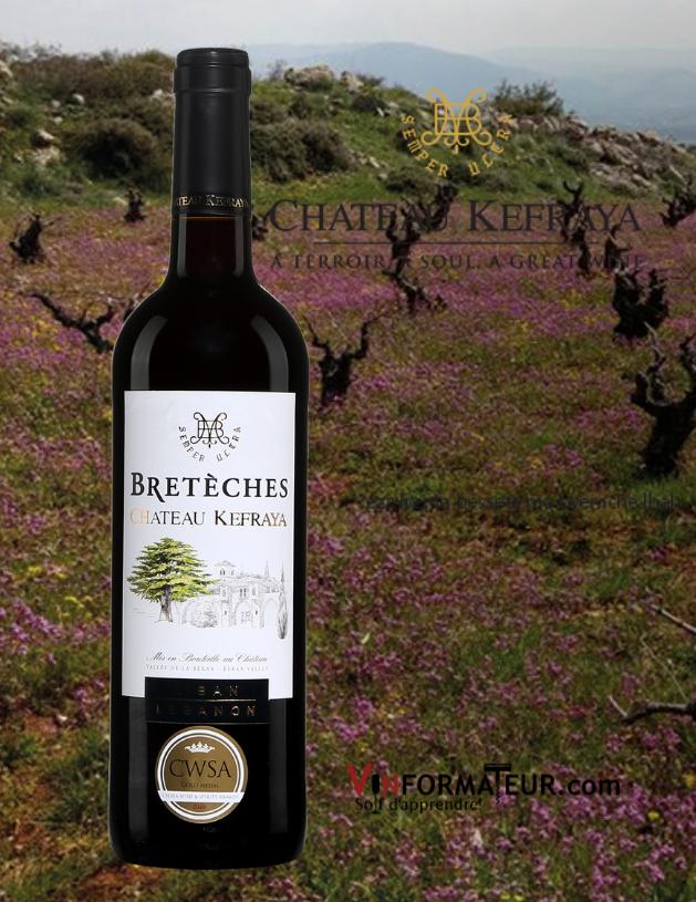 Bouteille de Les Bretèches, Château Kefraya, Liban, Vallée de la Bekaa, vin rouge, 2018