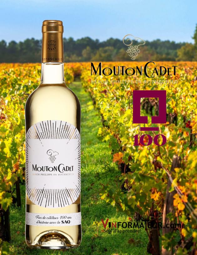 Bouteille Mouton Cadet, Bordeaux, vin blanc, 2020, édition spéciale 100e anniversaire de la SAQ
