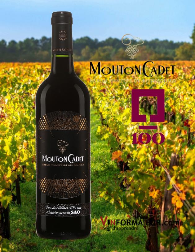 Bouteille Mouton Cadet, Bordeaux, vin rouge, 2018 édition spéciale 100e anniversaire de la SAQ