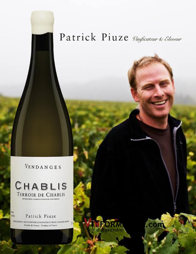Bouteille de Patrick Piuze, Terroir de Chablis, Vendange 2019 avec vignoble en arrière-plan