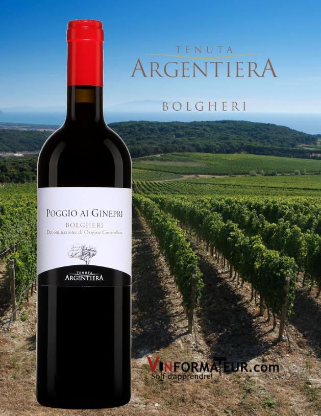 Bouteille de Poggio ai Ginepri, Bolgheri DOC, Tenuta Argentiera, 2018 avec vignobles en arrière-plan