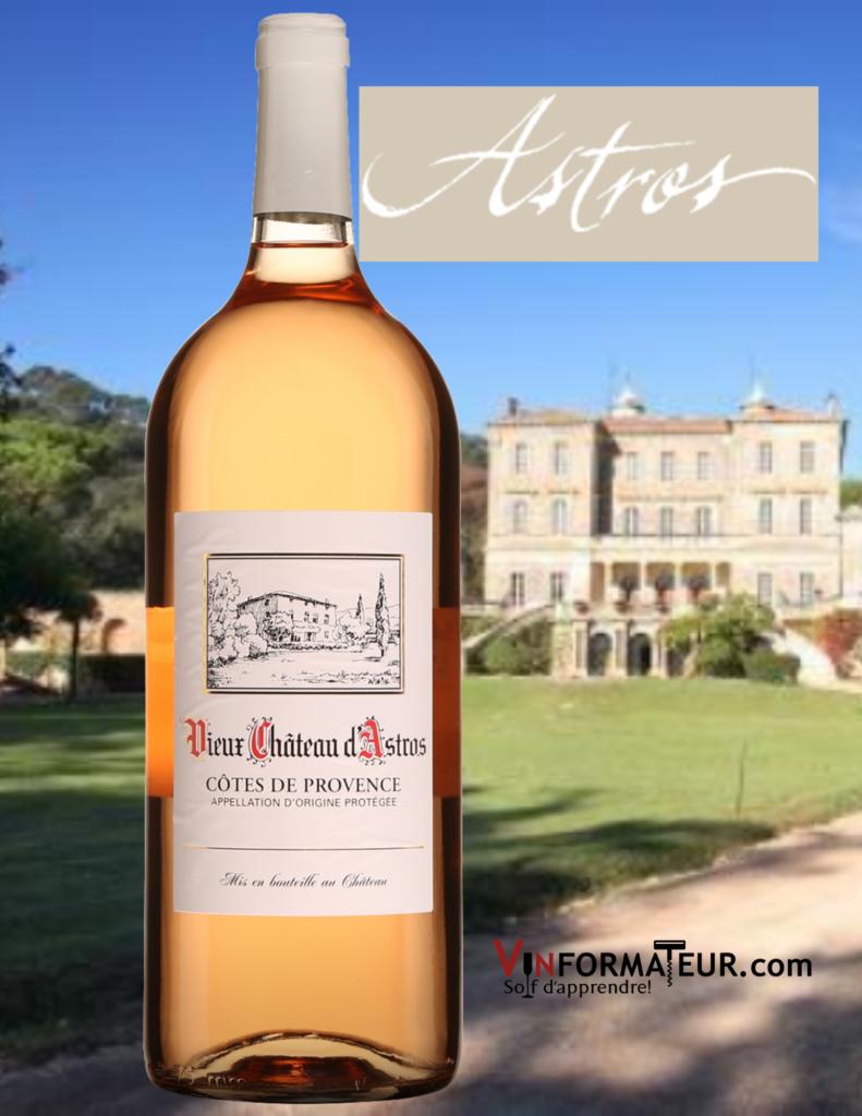 Bouteille Vieux Château d'Astros, Côtes de Provence, France, Provence, 2020 avec Vieux Château d'Astros en arrière-plan