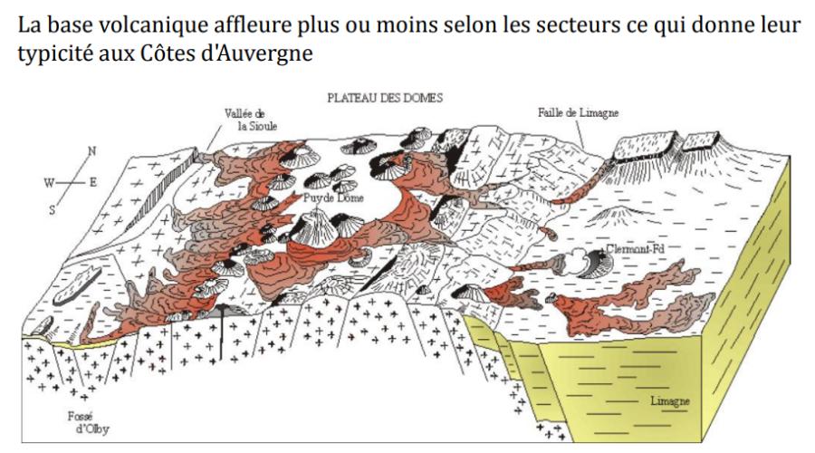 Carte géologique des Côtes de l'Auvergne