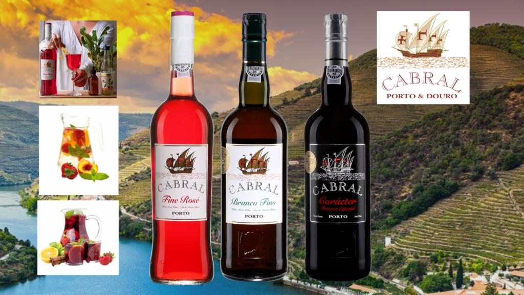 Bouteilles Cabral Branco Fino, Cabral Fine Rosé, Cabral Caracter Reserva Especial et suggestions de drinks