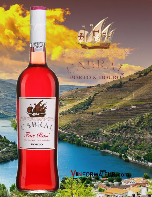 Bouteille Cabral, Fine Rosé, Portugal, Douro avec vignobles en arrière-plan