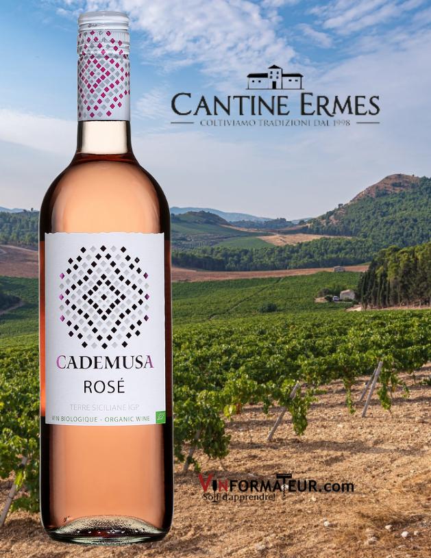 Cademusa Rosé, Italie, Sicile, Cantine Ermes, vin rosé bio, 2020