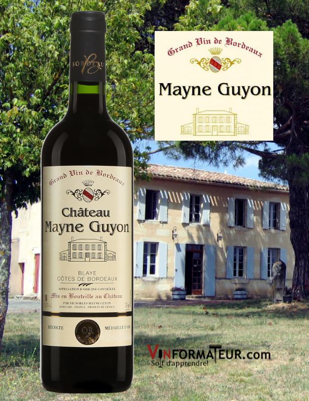 BOuteille de Château Mayne Guyon, Blaye, Côtes de Bordeaux, 2016 et vignobles