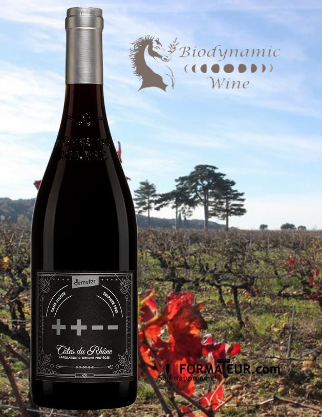 Bouteille de ++--, Biodynamic wines, France, Côtes du Rhône, 2019 et v ignobles