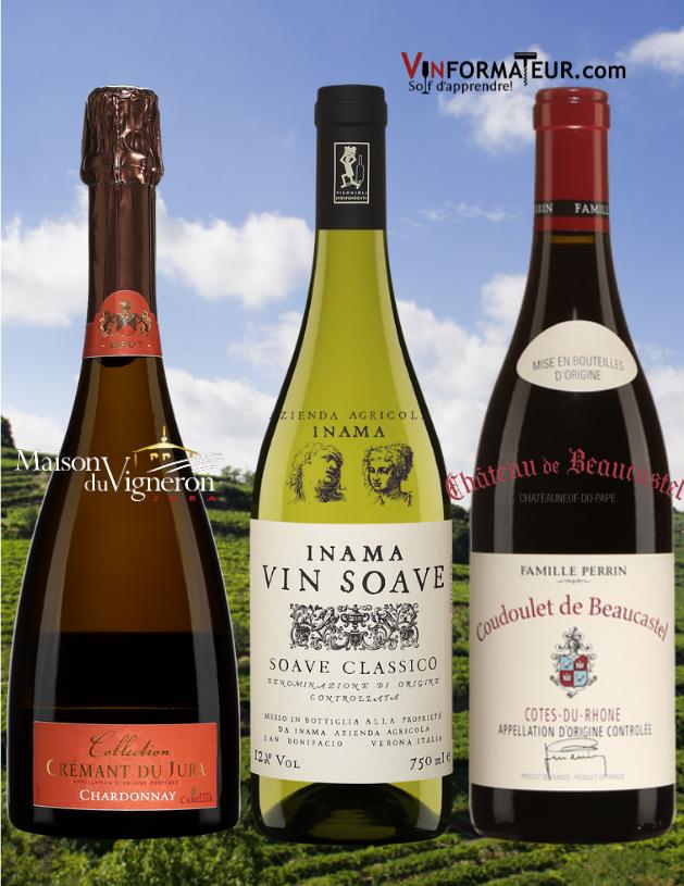 Collection, Crémant du Jura AOC, Brut, Inama, Soave Classico DOC 2019, Coudoulet de Beaucastel, France, Vallée du Rhône 2018.