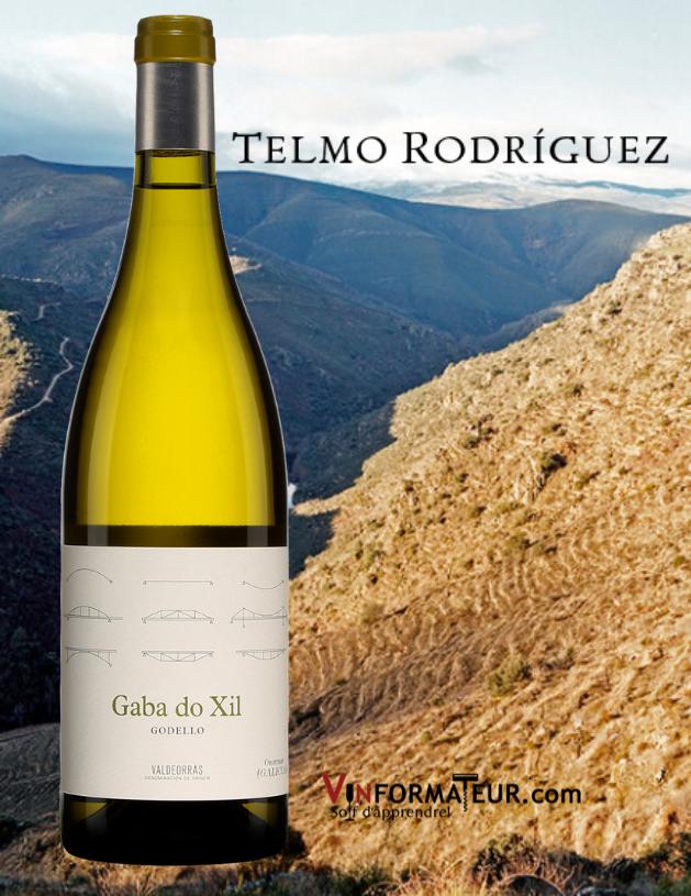 Bouteille de Gaba do Xil, Godello, Espagne, Galice, Valdeorras, Compania de Vinos Telmo Rodriguez,2019 avec vignobles