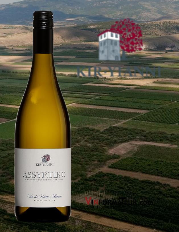 BOuteille de Kir Yianni, Assyrtiko, Vin de haute altitude, Grèce, Macédoine, vin blanc, 2019