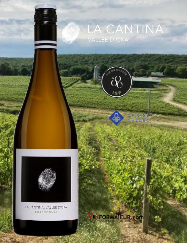 BOuteille de Chardonnay, La Cantina, Québec IGP, Basses Laurentides, Vallée d'Oka, vin blanc, Origine Québec, 2020 abvec vignobles