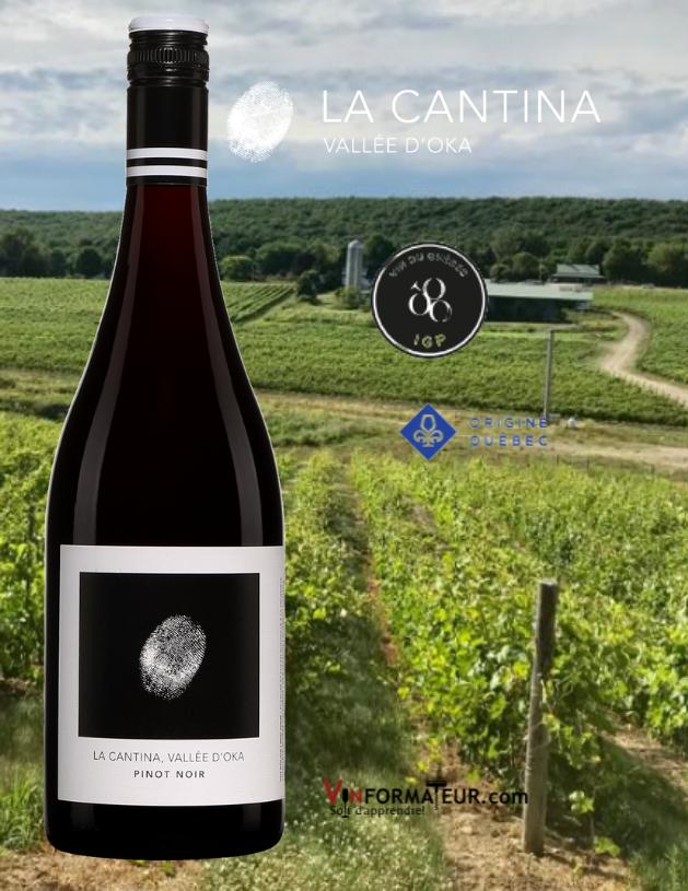 BOuteille Pinot Noir, La Cantina, La Cantina, Québec IGP, Basses Laurentides, Vallée d'Oka, vin rouge, Origine Québec, 2020