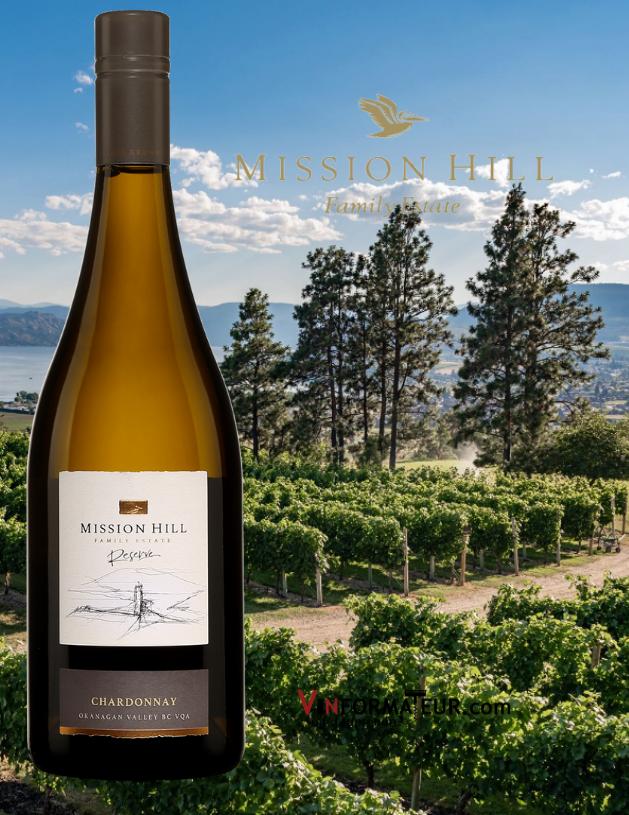 BOuteille de Chardonnay, Reserve, Mission Hill Family Estate, Colombie-Britannique, Vallée de l'Okanagan, 2019 avec vignobles